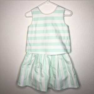 JANIE and JACK Mint and White Striped Outfit Set